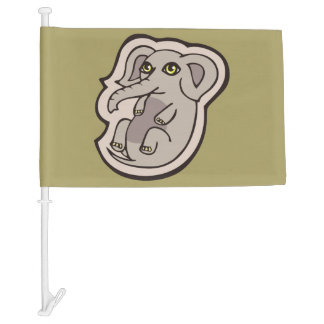 Cute Playful Gray Baby Elephant Drawing Design Car Flag