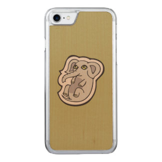 Cute Playful Gray Baby Elephant Drawing Design Carved iPhone 8/7 Case