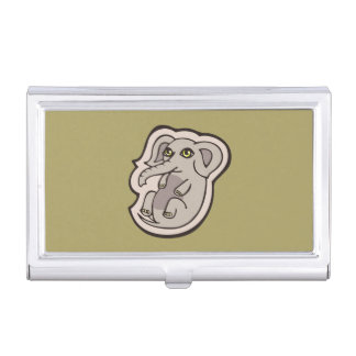 Cute Playful Gray Baby Elephant Drawing Design Case For Business Cards