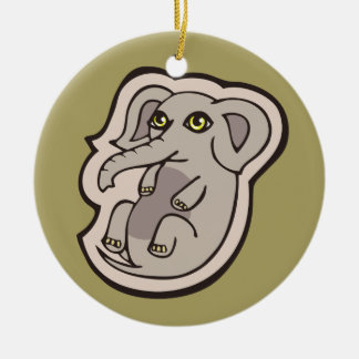 Cute Playful Gray Baby Elephant Drawing Design Ceramic Ornament
