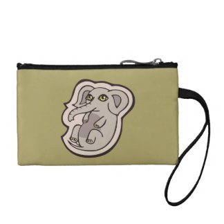 Cute Playful Gray Baby Elephant Drawing Design Change Purse