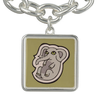 Cute Playful Gray Baby Elephant Drawing Design Charm Bracelet
