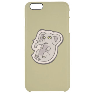 Cute Playful Gray Baby Elephant Drawing Design Clear iPhone 6 Plus Case