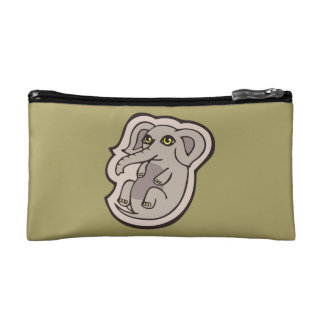 Cute Playful Gray Baby Elephant Drawing Design Cosmetic Bag