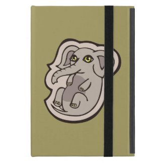 Cute Playful Gray Baby Elephant Drawing Design Cover For iPad Mini