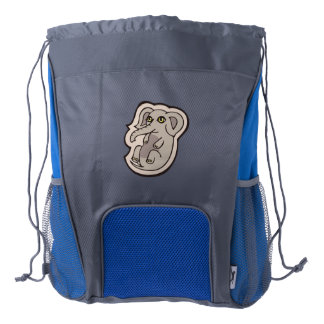 Cute Playful Gray Baby Elephant Drawing Design Drawstring Backpack