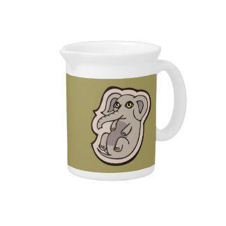 Cute Playful Gray Baby Elephant Drawing Design Drink Pitcher