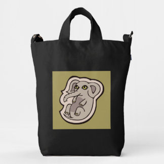 Cute Playful Gray Baby Elephant Drawing Design Duck Bag