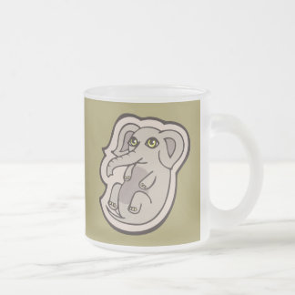 Cute Playful Gray Baby Elephant Drawing Design Frosted Glass Coffee Mug