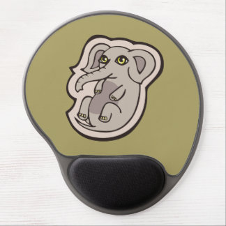 Cute Playful Gray Baby Elephant Drawing Design Gel Mouse Pad