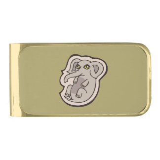 Cute Playful Gray Baby Elephant Drawing Design Gold Finish Money Clip