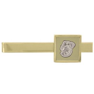 Cute Playful Gray Baby Elephant Drawing Design Gold Finish Tie Clip