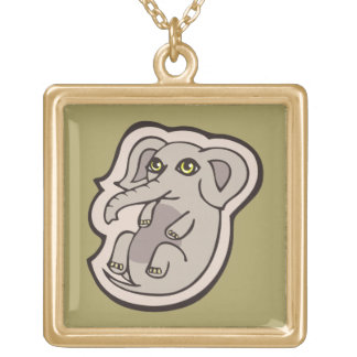 Cute Playful Gray Baby Elephant Drawing Design Gold Plated Necklace