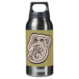 Cute Playful Gray Baby Elephant Drawing Design Insulated Water Bottle