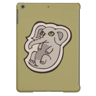 Cute Playful Gray Baby Elephant Drawing Design iPad Air Cover