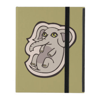 Cute Playful Gray Baby Elephant Drawing Design iPad Case