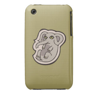 Cute Playful Gray Baby Elephant Drawing Design iPhone 3 Case-Mate Cases