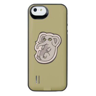 Cute Playful Gray Baby Elephant Drawing Design iPhone SE/5/5s Battery Case