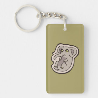 Cute Playful Gray Baby Elephant Drawing Design Keychain
