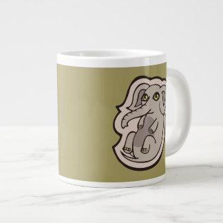 Cute Playful Gray Baby Elephant Drawing Design Large Coffee Mug