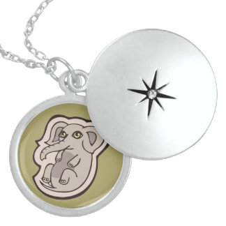 Cute Playful Gray Baby Elephant Drawing Design Locket Necklace