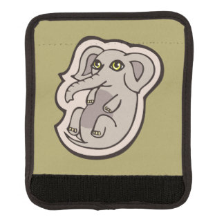 Cute Playful Gray Baby Elephant Drawing Design Luggage Handle Wrap