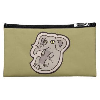 Cute Playful Gray Baby Elephant Drawing Design Makeup Bag
