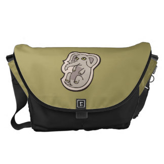 Cute Playful Gray Baby Elephant Drawing Design Messenger Bag