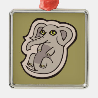 Cute Playful Gray Baby Elephant Drawing Design Metal Ornament