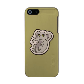 Cute Playful Gray Baby Elephant Drawing Design Metallic Phone Case For iPhone SE/5/5s
