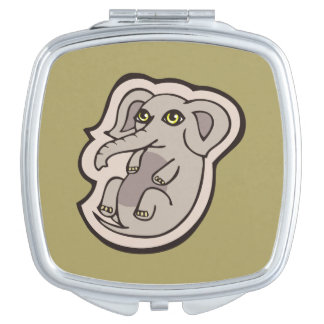 Cute Playful Gray Baby Elephant Drawing Design Mirror For Makeup