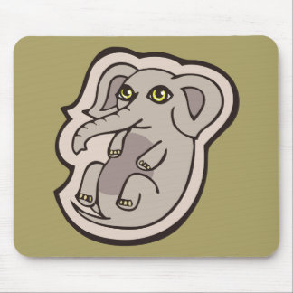 Cute Playful Gray Baby Elephant Drawing Design Mouse Pad