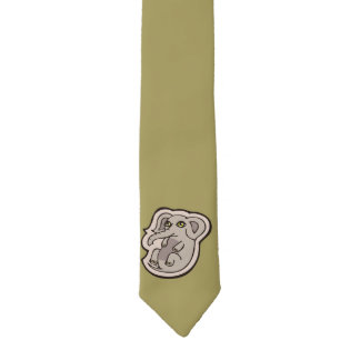 Cute Playful Gray Baby Elephant Drawing Design Necktie