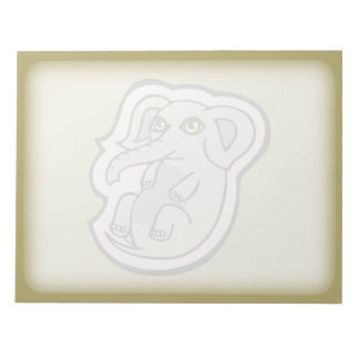 Cute Playful Gray Baby Elephant Drawing Design Notepad