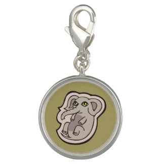 Cute Playful Gray Baby Elephant Drawing Design Photo Charms