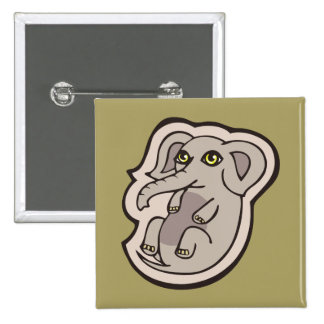 Cute Playful Gray Baby Elephant Drawing Design Pinback Button