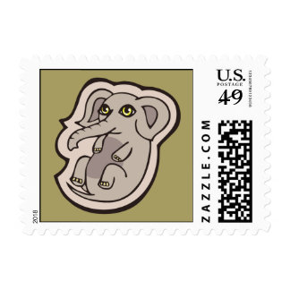 Cute Playful Gray Baby Elephant Drawing Design Postage