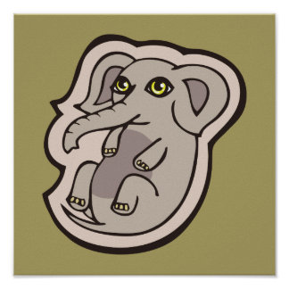 Cute Playful Gray Baby Elephant Drawing Design Poster