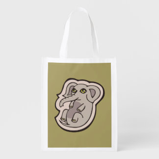Cute Playful Gray Baby Elephant Drawing Design Reusable Grocery Bags