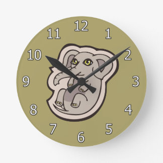 Cute Playful Gray Baby Elephant Drawing Design Round Clock