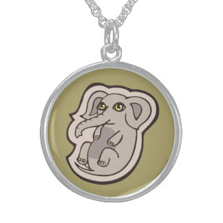 Cute Playful Gray Baby Elephant Drawing Design Round Pendant Necklace