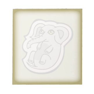 Cute Playful Gray Baby Elephant Drawing Design Scratch Pad
