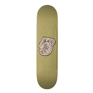 Cute Playful Gray Baby Elephant Drawing Design Skateboard