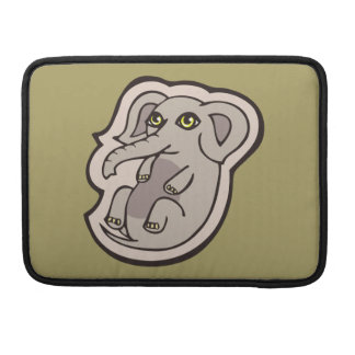Cute Playful Gray Baby Elephant Drawing Design Sleeve For MacBooks
