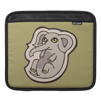 Cute Playful Gray Baby Elephant Drawing Design Sleeves For iPads
