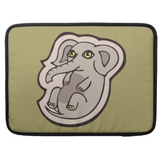 Cute Playful Gray Baby Elephant Drawing Design Sleeves For MacBooks
