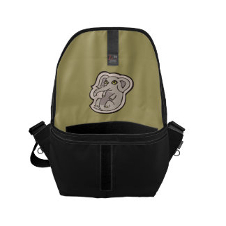 Cute Playful Gray Baby Elephant Drawing Design Small Messenger Bag