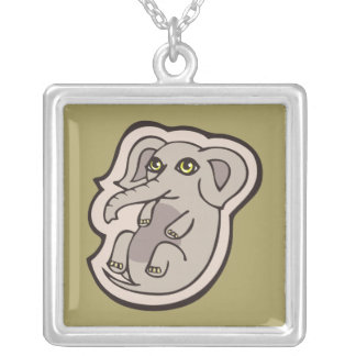 Cute Playful Gray Baby Elephant Drawing Design Square Pendant Necklace