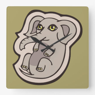Cute Playful Gray Baby Elephant Drawing Design Square Wall Clock