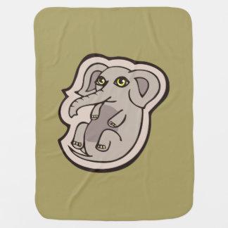 Cute Playful Gray Baby Elephant Drawing Design Stroller Blanket